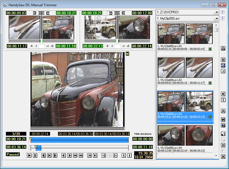 Video Scene Detection Software HandySaw DS | HandySaw DS